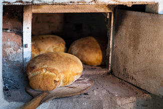 Bread baked in an old oven