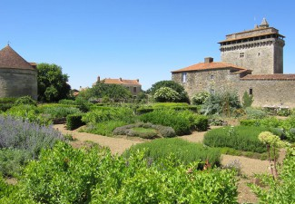 Medieval donjon with garden at Bazoges en Pareds, France