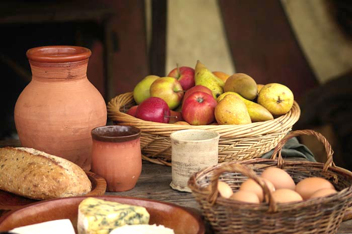 Medieval recipes food from the europe of the middle ages food laid out used in medieval cooking for medieval recipes forumfinder Choice Image