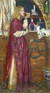 Painting showing a queen eating medieval bread and honey