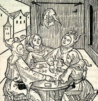 Medieval gamblers in a dice game and drinking at an inn