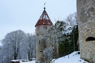 Medieval castle with snow
